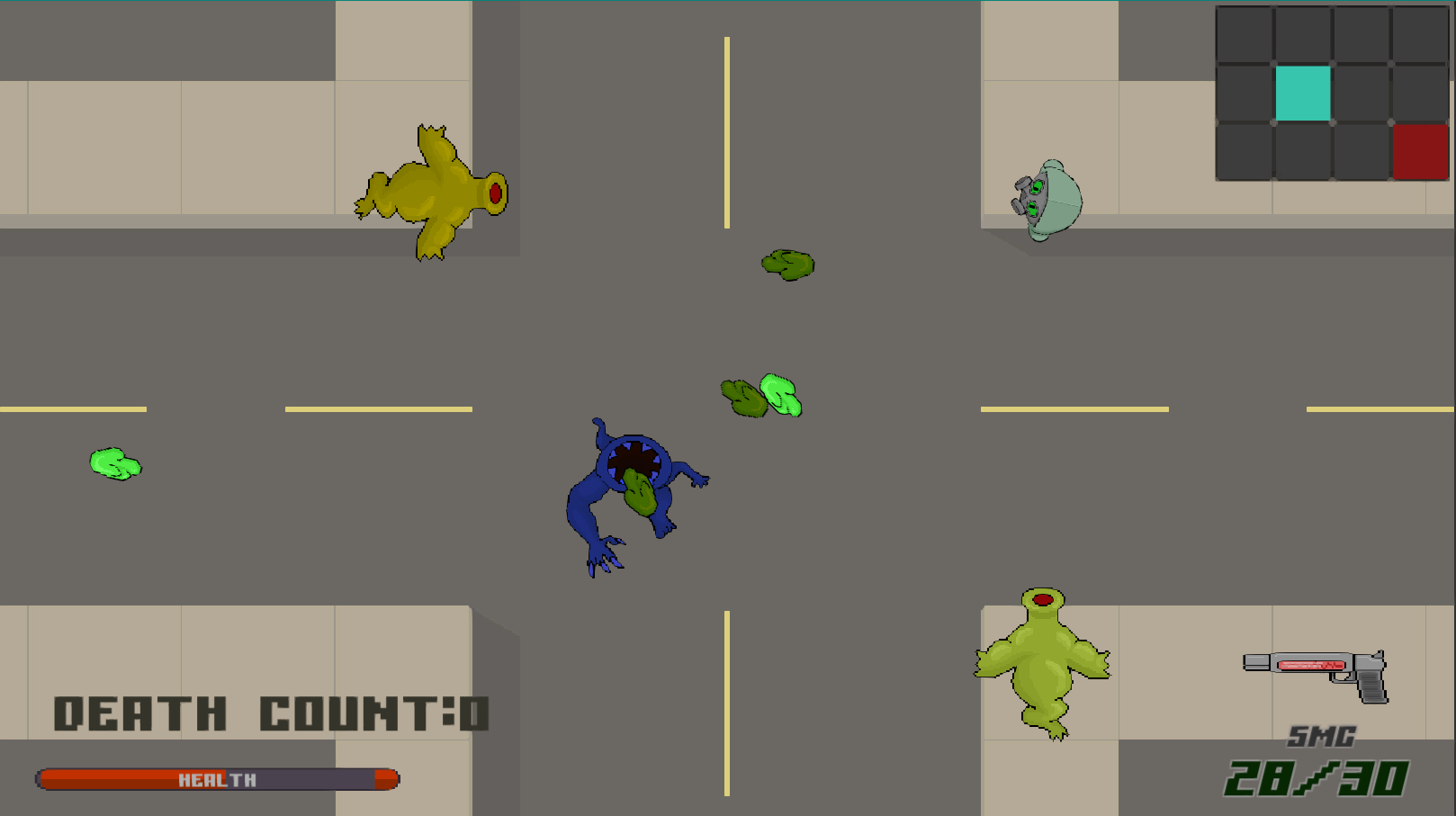 A screenshot of a post-apocalyptic arcade shooter with retro graphics.